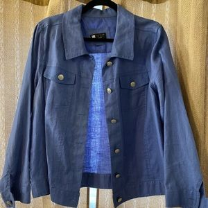 Carole Little Periwinkle Blue Linen Jacket 1X